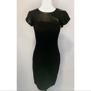 Marciano Black Mini Dress w. Leather Upper Detail